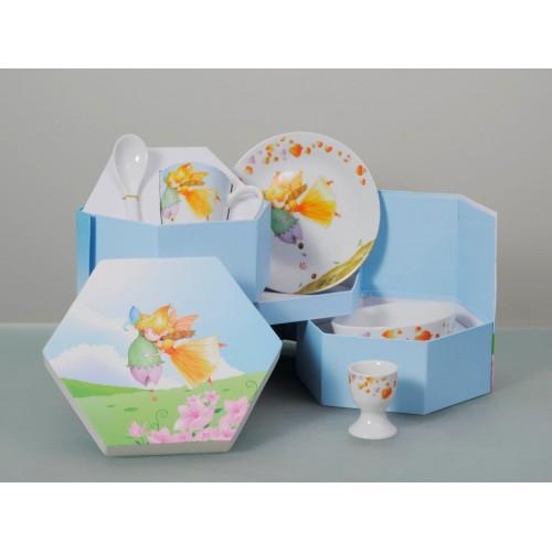 Παιδικό Σερβίτσιο Φαγητού Πορσελάνης, Σετ 5 Τεμ. Fairy, CRYSPO TRIO
