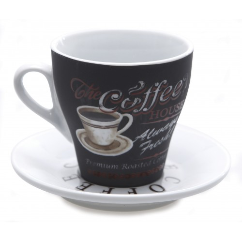 Φλυτζάνι/Πιατάκι Cappuccino 170ml Πορσελάνη Διακοσμημένο, 4 Σχέδια, Συσκ. 6 Τεμ. Ανάμεικτα, 64-50417, GTSA
